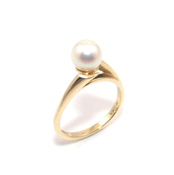 Signed 14K Yellow Gold Ring Size 5.5 Pearl Solitaire, CMDSHINE