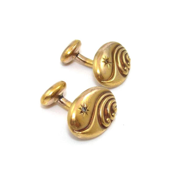 Vintage Antique 10K Yellow Gold Men's Diamond Cufflinks, CMDSHINE