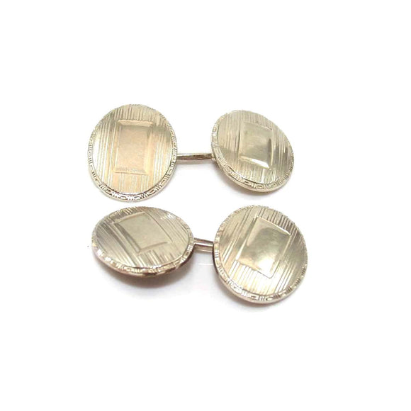 Vintage Antique 10K White Gold Men's Cufflinks, CMDSHINE
