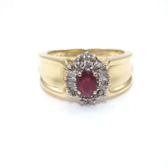 14K Yellow Gold Ring Size 7 Natural Pink Ruby Diamond Halo 1/4 ct, CMDSHINE