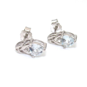 10K White Gold Earrings Blue Aquamarine Diamond Heart, CMDSHINE