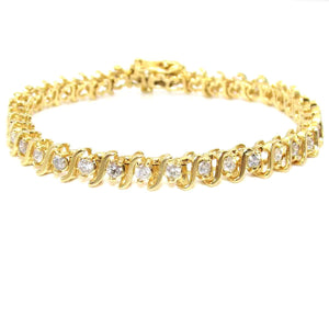 14K Yellow Gold 2.00 ct Natural Diamond Tennis Bracelet, CMDSHINE