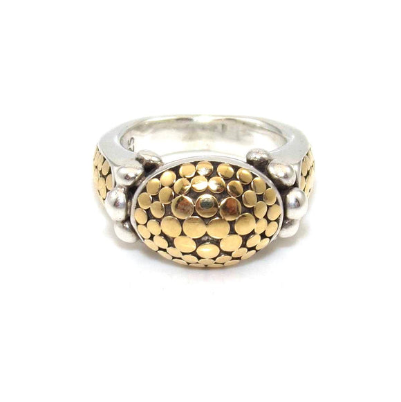 John Hardy Sterling Silver 18K Yellow Gold Dome Dot Ring Size 5.25, CMDSHINE
