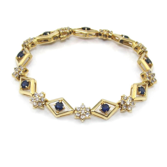 14K Yellow Gold Bracelet Natural Sapphire Diamond 4.00 ctw, CMDSHINE