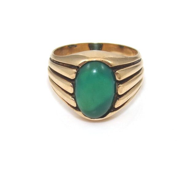 Vintage 18K Yellow Gold Malachite Men's Ring Size 8.5, CMDSHINE