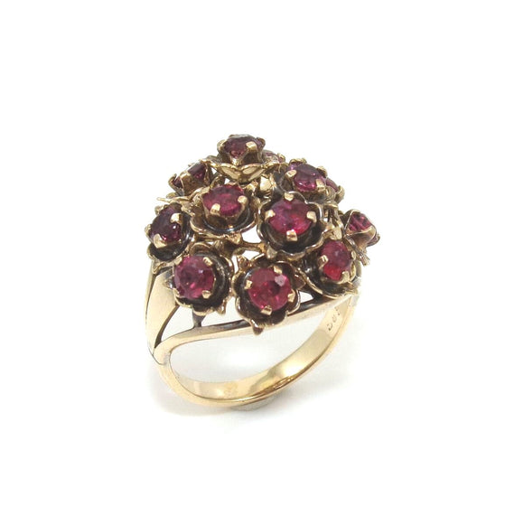 Vintage 14K Yellow Gold Ring Size 4.5 Natural Ruby Cluster Movable Swivel