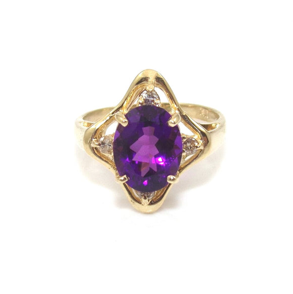 14K Yellow Gold Ring Size 7.5 Purple Amethyst Diamond, CMDSHINE