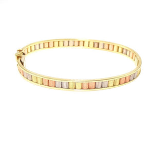 Italy 14K Rose White Yellow Gold Tri-Gold Oval Bangle Bracelet