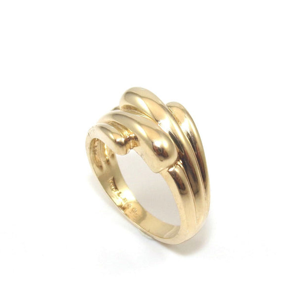 14K Yellow Gold Shrimp Bypass Band Ring Size 7.25