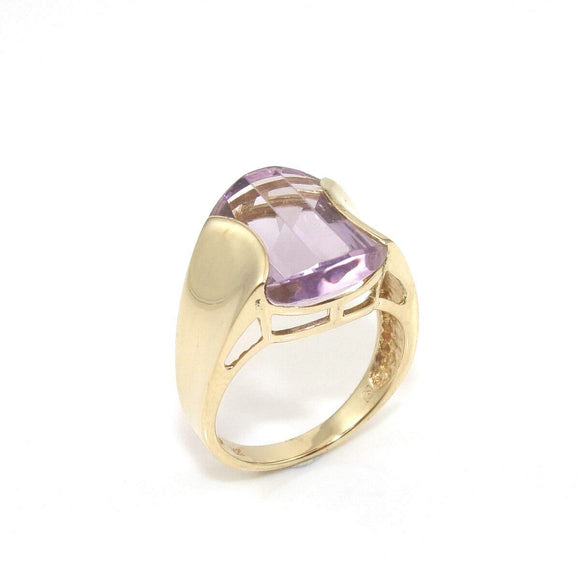 14K Yellow Gold Purple Amethyst Ring Size 7.25