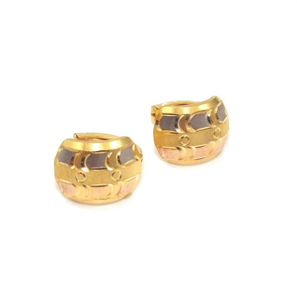 22K White Rose Yellow Gold Tri-Gold Huggie Earrings