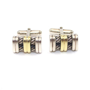 David Yurman Sterling Silver 14K Yellow Gold Men's Cable Cufflinks