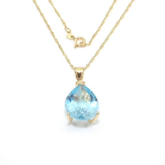14K Yellow Gold Blue Topaz Pendant Chain Necklace 18.5