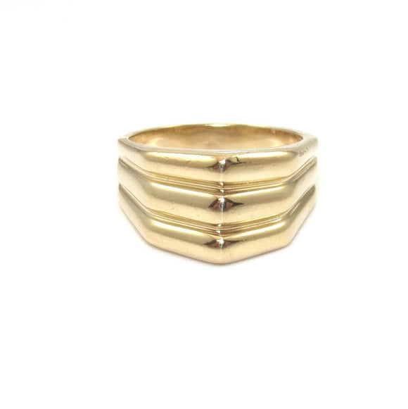 14K Yellow Gold Ring Size 6.5 Ribbed Geometric