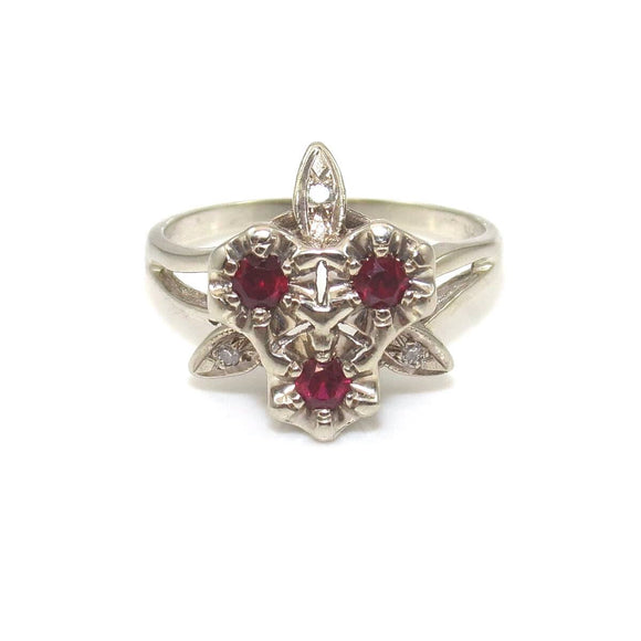 Vintage 14K White Gold Ring Size 8.5 Natural Pink Ruby Diamond
