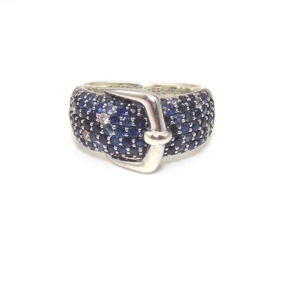 Effy Splash Sterling Silver Blue Sapphire Buckle Ring Size 6.5
