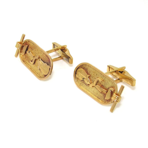Vintage 22K Yellow Gold Hieroglyphic Men's Cufflinks
