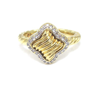 David Yurman 14K Yellow Gold Diamond Quartrefoil Ring Size 6.5