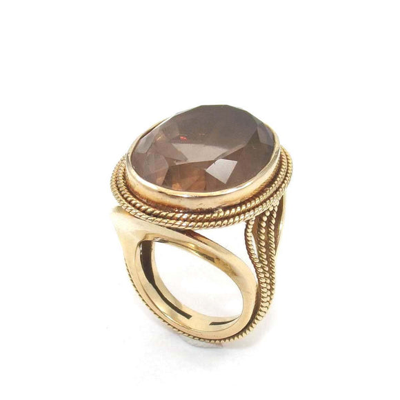 Vintage 14K Yellow Gold Smoky Topaz Cocktail Ring Size 6 Large Heavy