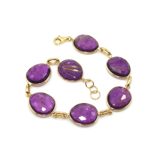 14K Yellow Gold Rutilated Amethyst Bracelet
