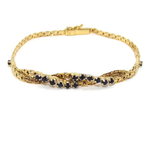 18K Yellow Gold Natural Sapphire Bracelet 7.5