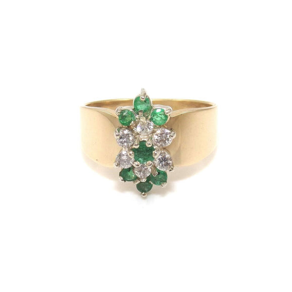 14K Yellow Gold Ring Size 8.25 Natural Emerald Diamond Cluster