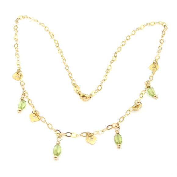 14K Yellow Gold Green Peridot Cross Dangle Necklace 16.5