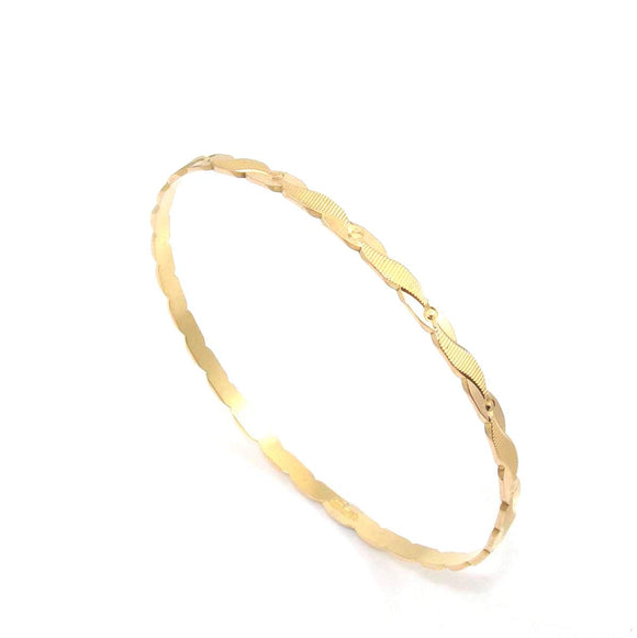 21K Yellow Gold Round Bangle Bracelet