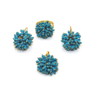 18K Yellow Gold Blue Turquoise Cha Cha Ring Earring Pendant Set