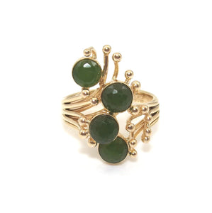 Vintage 14K Yellow Gold Ring Size 6.75 Green Jade Modernist
