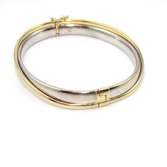 14K Yellow Gold White Gold Hinged Bangle Bracelet