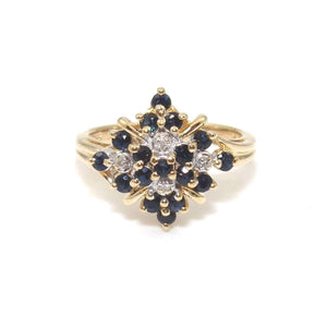 14K Yellow Gold Ring Size 6.5 Natural Sapphire Diamond Cluster