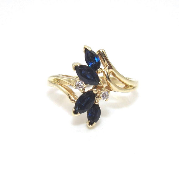14K Yellow Gold Ring Size 7.75 Natural Sapphire Diamond