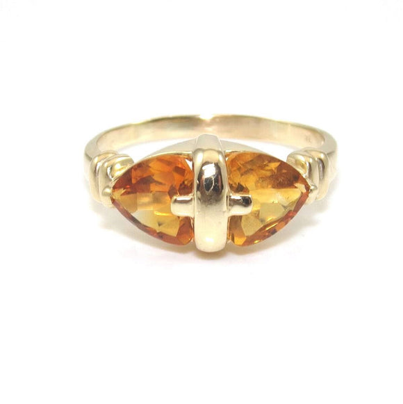 14K Yellow Gold Orange Citrine Heart Ring Size 11.5