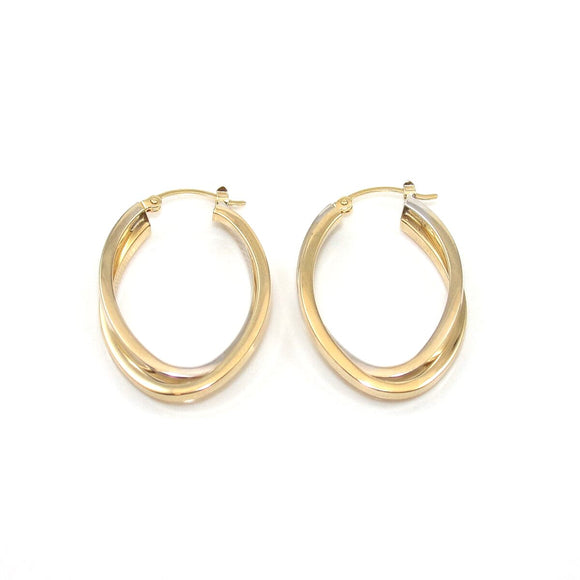 14K White Gold Yellow Gold Oval Hoop Earrings