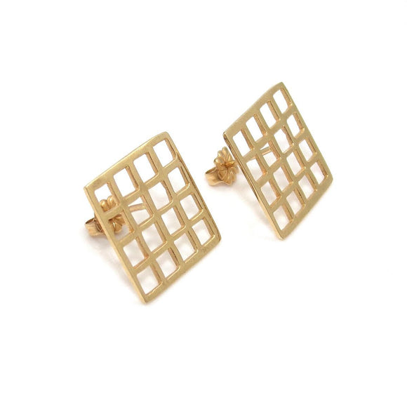 14K Yellow Gold Square Grid Waffle Earrings