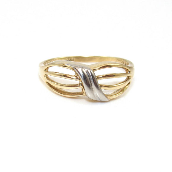 14K Yellow Gold White Gold Band Ring Size 7.25