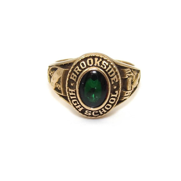 Josten 10K Yellow Gold Green Spinel Brookside High School Class Ring Size 6.25