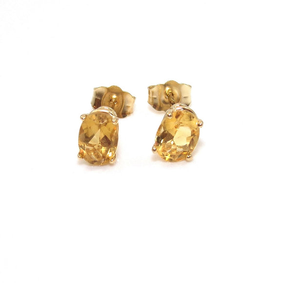 14K Yellow Gold Orange Citrine Stud Earrings