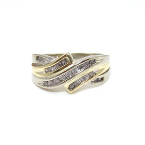 10K White Gold Yellow Gold Diamond Journey Band Ring Size 7.5