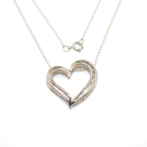 10K White Gold Natural Diamond Heart Necklace 17""