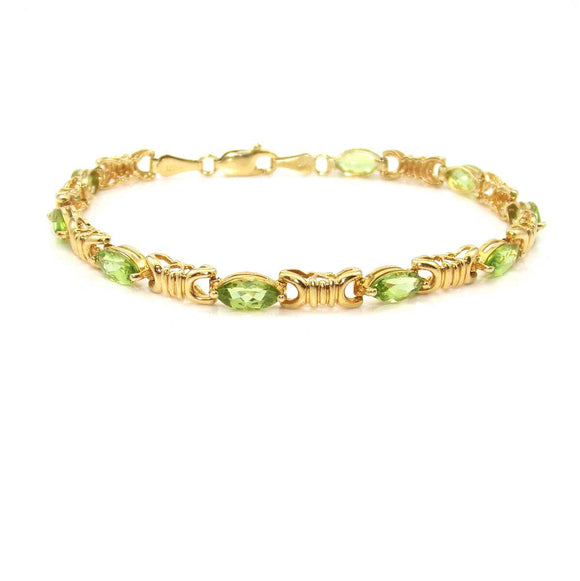 14K Yellow Gold Green Peridot Link Bracelet 7.25