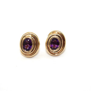 14K Yellow Gold Purple Amethyst Stud Earrings