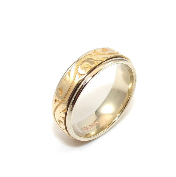 14K Yellow Gold Men's Wedding Band Spinner Ring Size 10.75