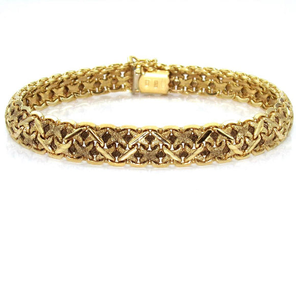 14K Yellow Gold Italy X Link Chain Bracelet