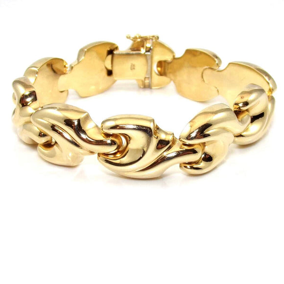 14K Yellow Gold Italy Heavy Chain Link Bracelet