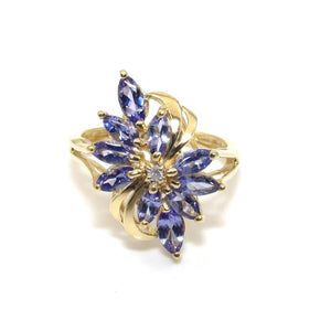 14K Yellow Gold Ring Size 7.25 Purple Tanzanite Diamond Cluster