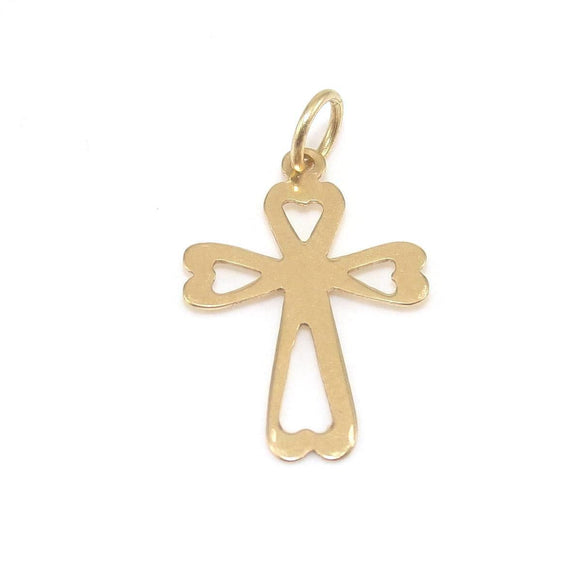 14K Yellow Gold Heart Cross Charm Pendant