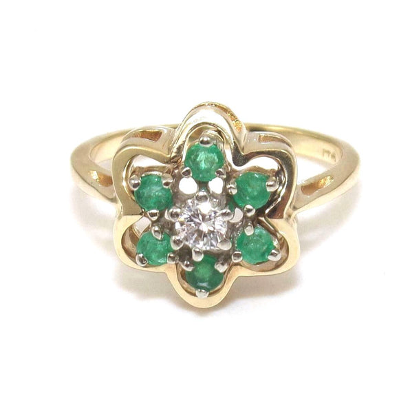 14K Yellow Gold Ring Size 5.75 Natural Emerald Diamond Flower Halo
