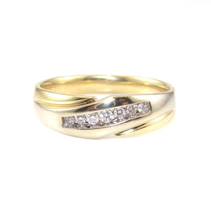 14K Yellow White Gold Men's Natural Diamond Wedding Band Ring Size 11.25